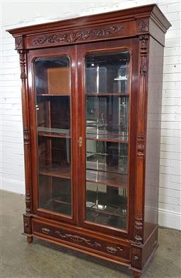 Sale 9183 - Lot 1044 - Mahogany glass front bookcase with mirrored back, damaged (h:208 x w:127 x d:43cm)