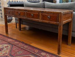 Sale 9191H - Lot 5 - A Chinese Elm Four Drawer sideboard, L 163 x H 73 x D 50 cm