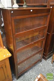 Sale 8255 - Lot 1016 - Fruitwood Stacking Bookcase, of four tiers with retracting glass panel doors