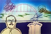 Sale 8297A - Lot 31 - Sidney Nolan (1917 - 1992) - Man, Trooper and Sydney Harbour Bridge 64 x 89.5cm (sheet size)