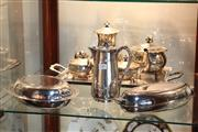 Sale 8330T - Lot 199 - Silver Plated Angus & Coote Tea Set with Other Silver Plated Wares