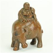 Sale 8393B - Lot 65 - Bamboo Figure Group of a Man on Buffalop