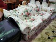 Sale 8629 - Lot 1079 - Pair of Floral Fabric Upholstered 2.5 Seater Chesterfield Lounges