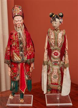 Sale 9108H - Lot 70 - Two oriental puppets on stands, Height approx 59cm