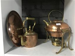 Sale 9101 - Lot 2111 - Copper kettle on stand together with another kettle and copper lid