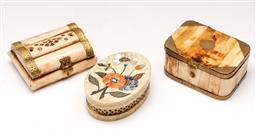 Sale 9119 - Lot 501 - Two bone panelled boxes together with a soapstone example (L 10cm)