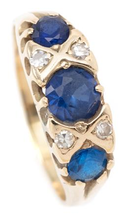 Sale 9132 - Lot 376 - A VICTORIAN STYLE DIAMOND AND GEMSET RING; belcher set across the top with 4 single cut diamonds 3 synthetic blue sapphires in 12ct...