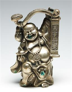 Sale 9255S - Lot 25 - A reproduction cast metal figure of A happy buddha holding A Ruyi Height 20cm