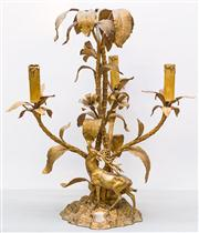 Sale 8287A - Lot 74 - An 18th Century Stag candelabra. Exceptionally rare. Original finish is nickel, although it appears to have been bronze gilded at so...