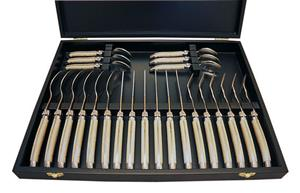 Sale 8372A - Lot 1 - Laguiole by Louis Thiers Luxe 24 Piece Cutlery Set in Case w Marbled Ivory Style Handles RRP $650