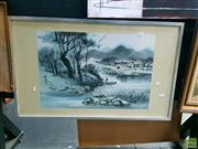 Sale 8582 - Lot 2022 - Artist Unknown, Oriental Village, Watercolour, Marked LR 44.5x64.4cm