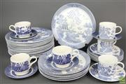 Sale 8635 - Lot 51 - Willow Blue and White Chinese Part Service By Johnson includes Plates and Cups