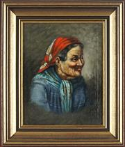 Sale 8845 - Lot 2038 - Artist Unknown - Old Women 23.5 x 18.5cm