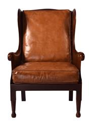 Sale 8957T - Lot 28 - A Traditional Wingback armchair in a soft hand waxed old saddle leather Seat and Back Cushion. Surrounded by Showwood Timber frame....