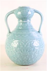 Sale 8980S - Lot 613 - A Large Chinese Sky Blue Double Handled Vase, double gourd form body delicately carved with lotus scrolls with Ruyi-shaped border to...