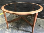 Sale 9002 - Lot 1082 - Parker 2 Tier Coffee Table with Smokey Glass (h:46 x d:80cm)