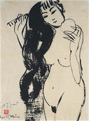 Sale 9038A - Lot 5085 - Artist Unknown - Standing Nude with Hair Comb 59 x 36 cm (frame: 81 x 69 x 5 cm)