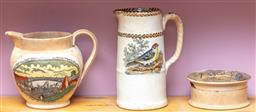 Sale 9120H - Lot 115 - A group of three transfer printed ceramic wares including Staffordshire jug and lidded pot, tallest Height 15.5cm
