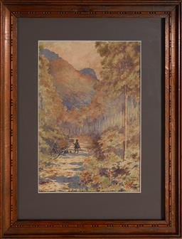 Sale 9123 - Lot 2041 - Archibald Fenton Spencer (1860 - 1933) Travellers Resting at Katoomba Track, 1900 watercolour 27 x 18.5 cm (frame: 43 x 33 x 2 cm) s...