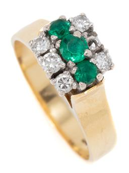 Sale 9177 - Lot 315 - A VINTAGE 18CT GOLD EMERALD AND DIAMOND RING; high pillar claw set with 3 synthetic emeralds and 5 round brilliant cut diamonds tota...