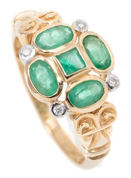 Sale 9164J - Lot 412 - A 9CT GOLD EMERALD AND DIAMOND RING; cluster centring on a carre cut emerald to surround of 4 oval cut emeralds and 4 round brillian...