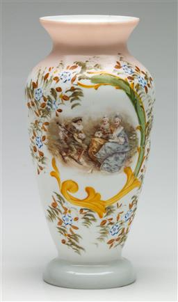 Sale 9209 - Lot 93 - A Venetian milk glass vase together with a pair of continental figures (H:27cm)