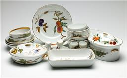 Sale 9209 - Lot 19 - A large collection of Royal Worcester Evesham dinner wares incl. plates, bowls, baking dishes, tureens, and others