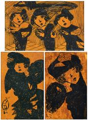 Sale 8394 - Lot 572 - Madge Gill (1882 - 1961) (3 works) - Les Trois Girls, 1921; Women of the Twenties 13 x 8cm, each