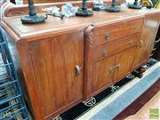Sale 8480 - Lot 1044 - Carved Timber Breakfront Sideboard with Two Central Drawers & Four Doors