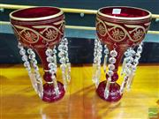 Sale 8545 - Lot 1003 - Pair of Ruby Glass Lustre Vases