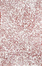 Sale 8743 - Lot 563 - Jeannie Petyarre (1956 - ) - Bush Yam Leaves 151 x 96cm (stretched and ready to hang)