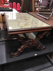 Sale 8782 - Lot 1328 - Ornate Timber Coffee table with tapestry Inlay