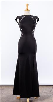 Sale 8891F - Lot 35 - A Bariano, Australia black full-length evening gown with lace paneling, size 6