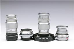 Sale 9093 - Lot 2 - A Set Of Four Vintage Camera Lenses Incl Leitz And Steinheil Orthostigmat