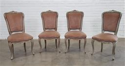 Sale 9166 - Lot 1031 - Set of 4 French style dining chairs with upholstered seats and back (h:105 x w:53cm)