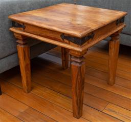Sale 9191H - Lot 9 - An Indian square form timber side table, H 60 x W 60 cm