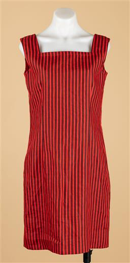Sale 9250F - Lot 81 - A Givenchy Nouvelle Boutique, Paris black & red striped dress, with zip to back, size M-L Made in France.