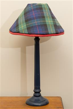 Sale 9260M - Lot 86 - A timber lamp with tartan shade H 57cm