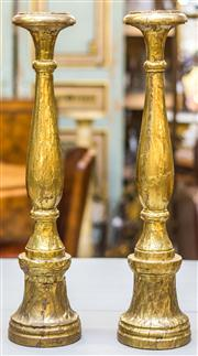 Sale 8287A - Lot 76 - A matching pair of brass wrapped candlesticks, 62cm high