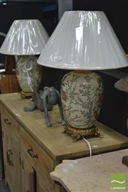 Sale 8289 - Lot 1005 - Pair of Antique Style Lamps with Floral Design (4524)