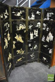 Sale 8326 - Lot 1273 - Oriental 4 Panel Screen w Mother of Pearl Scenes