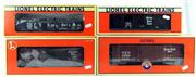Sale 8376 - Lot 42 - Four Lionel Train O Gauge Nickel Plate Road Rolling Stock; Gondola with scrap load (6-17407), Four-bay Hopper (6-19318), and 2 Boxca...