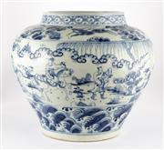 Sale 8536 - Lot 47 - A Ming style blue and white pot with ocean and figural design, label to the shoulder, H 30cm