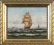 Sale 8845 - Lot 2020 - Artist Unknown - Tall Ship in Harbour 22 x 27cm