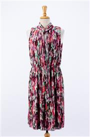 Sale 8891F - Lot 19 - A St. John abstract floral printed, pleated sleeveless cocktail dress, size 8 (as new, with tags)