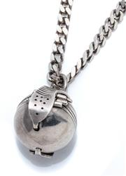 Sale 9029 - Lot 315 - A VINTAGE SILVER FOLD OUT PHOTO LOCKET ON CHAIN, 6 compartment fold out 17mm ball locket on a curb link chain, length 52cm.