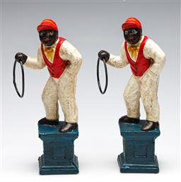 Sale 9255S - Lot 26 - A pair of handpainted reproduction cast iron figures Height 28cm