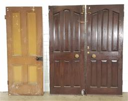 Sale 9255 - Lot 1392 - Pair of timber doors together with another (205x81cm)