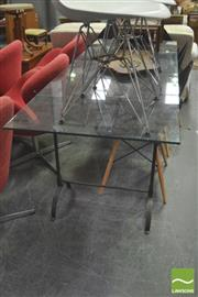 Sale 8406 - Lot 1080 - Glass Top Table over Cast Metal Base