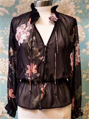 Sale 8474A - Lot 97 - A luxe boho floral pink oriental lilly Sheike chiffon blouse - Condition: New with Tags - Size: 10